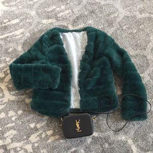 Jackets & Blazers - Forest Green Cropped Faux Fur Jacket